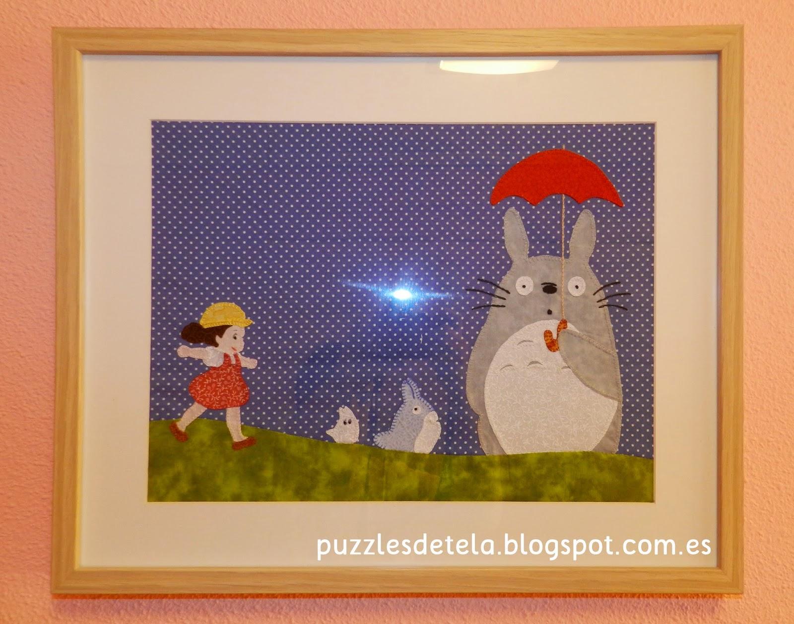 Puzzles de tela, patchwork, Totoro, Mi Vecino Totoro, Salón del Cómic, cuadros de patchwork, decoración patchwork, decoración habitación niños, decoración infantil, decoración habitación infantil, cuadros para niños,