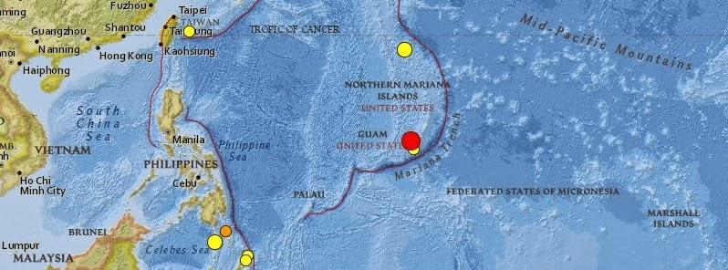 sismo de magnitud 7,1 sacudió las Islas Guam, 17 de Septiembre 2014