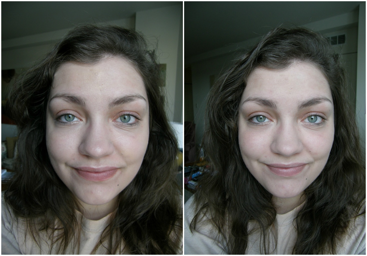 Elegant Left: Face With Just Foundation / Right: Foundation Set With NARS Light  Reflecting Setting Powder