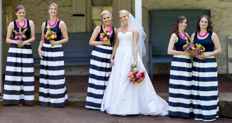 Sandee royalty recent real weddings in striped bridesmaid for Striped bridesmaid dresses wedding