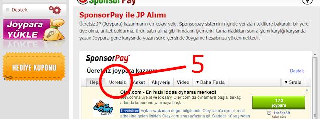 5   Bedava JoyPara Kazan (Nakit)
