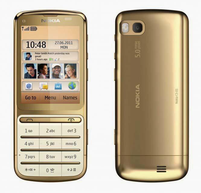 Мобильный телефон Nokia C3-01 Gold Edition с впечатляющим покрытием из 18-каратного золота