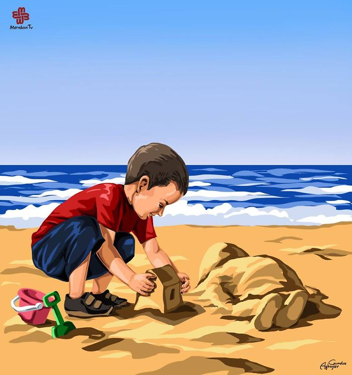 Artists Around The World Respond To Tragic Death Of 3-Year-Old Syrian Refugee - God Be With You, Little Angel. The Death Of Tragic Syrian Toddler Aylan By Gunduz Aghayev