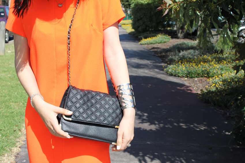 glassons, ivana petrovic, like a harte, likeaharte, fashion blog, fashion blogger, blogger style, street style, gary pepper, camilla and marc, amphora dress, orange dress, neon, bright, betts shoes, quilted bag, asos, chanel bag, colette hayman, cut out cuff, ootd, outfit inspiration
