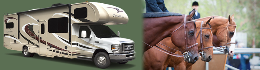 RV travel to equestrian events and to the races!