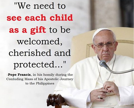 Pope Francis says every child is a gift
