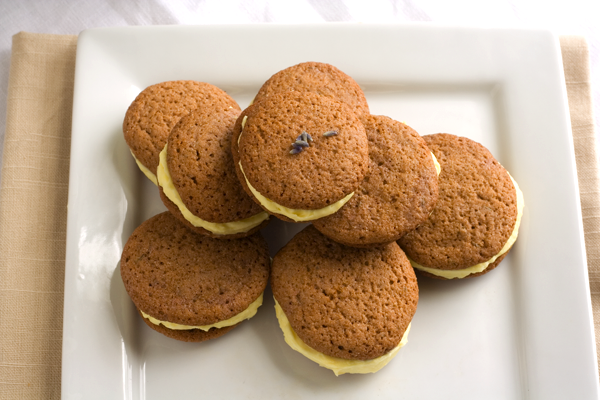 tasty trix  lavender whoopsie cookies with a lemon