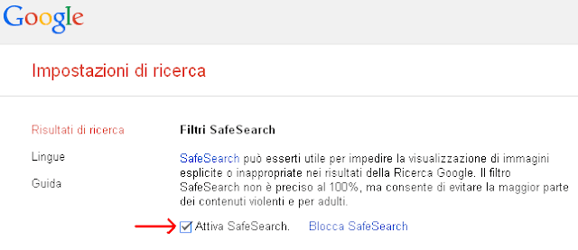 Attiva SafeSearch ricerche Google
