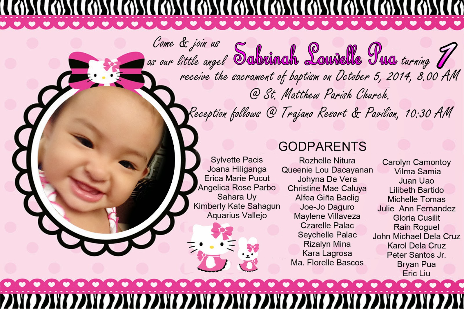 Hello Kitty Invitation for Christening and 1st Birthday | randy Fotograpix