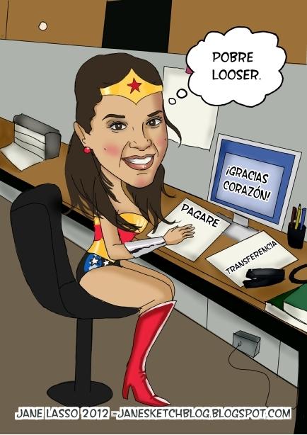 Caricatura de chica oficinista. Creada por Jane Lasso.
