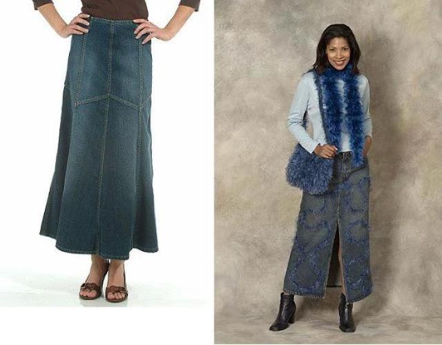 Gambar model rok panjang jeans terbaru bahan jeans atau denim cocok