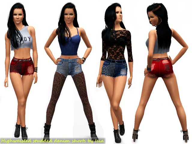 Sims 3 High Waisted Shorts High Waisted Studded Shorts