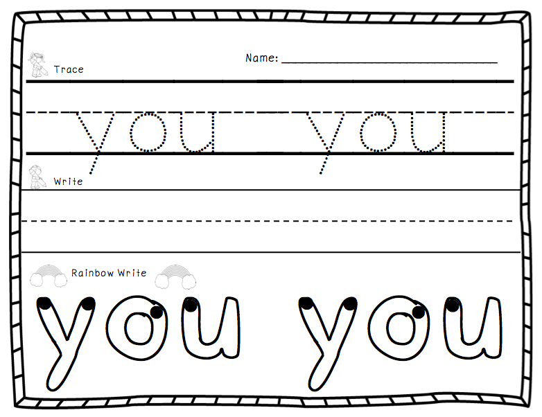 NEW 689 SIGHT WORD WORKSHEET HE – Sight Words Tracing Worksheets for Kindergarten