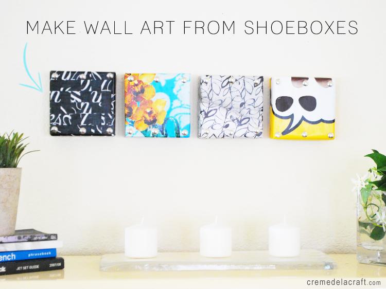 Diy mini wall art from shoebox lids for Diy magazine box