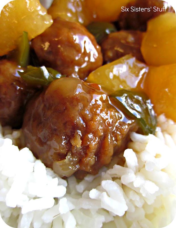 Slow Cooker Hawaiian Meatballs | Six Sisters' Stuff