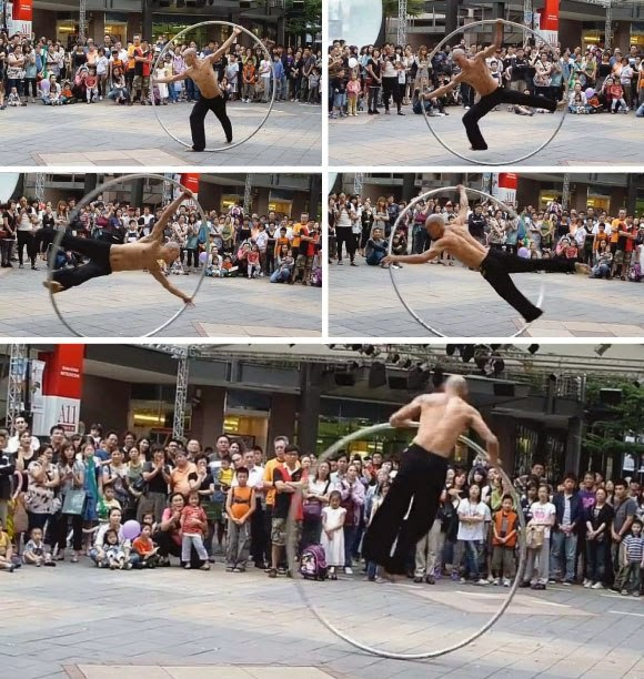 Rotation too terrible! ! Performance in the ring like a giant hula hoop! !