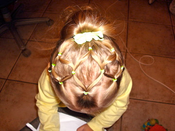 toddler hairstyles neon green rubber bands