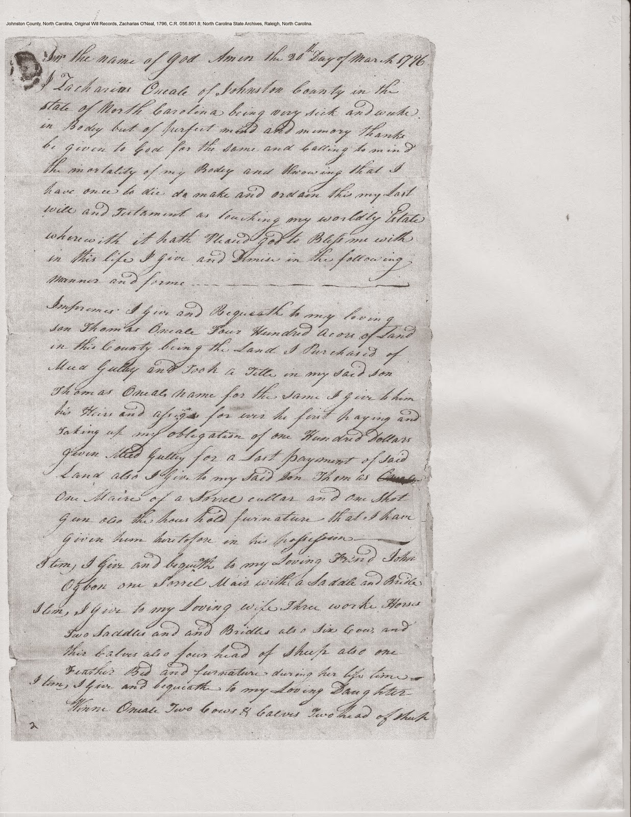 Zachariah O'Neal's will, Johnston Co., NC, 1796, p. 1