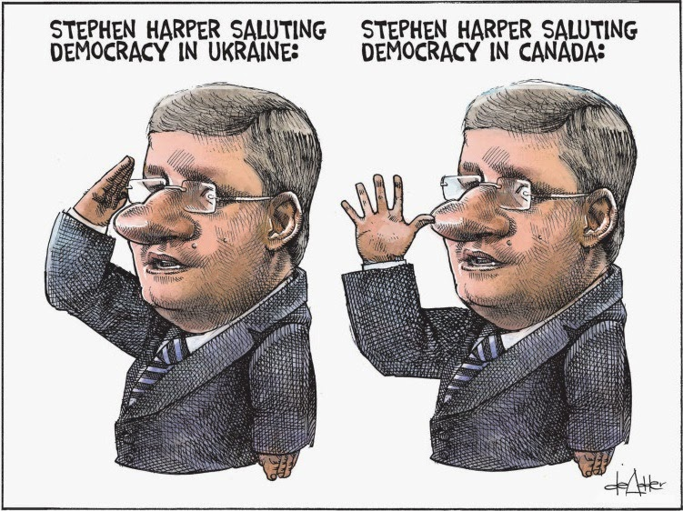 Michael de Adder: Stephen Harper salutes democracy.