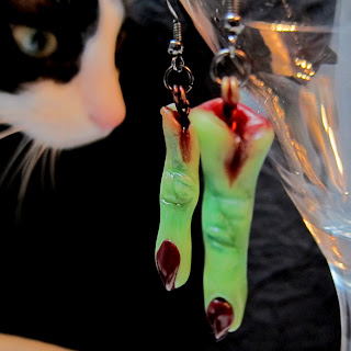 Halloween earrings ghoulish witch fingers handcrafted from polymer clay by Marie Young Creative