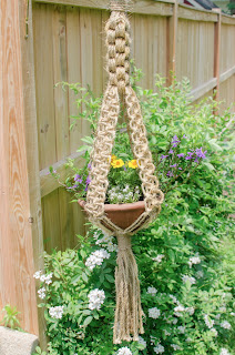 macrame, plant, hanger, basket. craft, marigold, alyssum