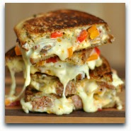 Sausage, Pepper, and Onion Chipotle Grilled Cheese