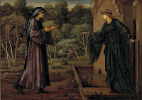 A nun is received by a woman at the gates