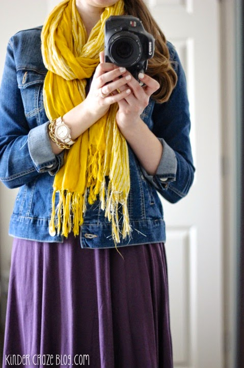 Aleisha fit and flare dress from Stitch Fix with a denim jacket and mustard scarf #stitchfix