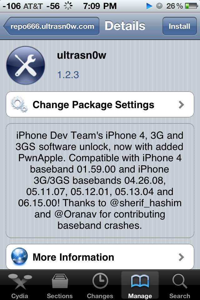 Install Ultrasn0w