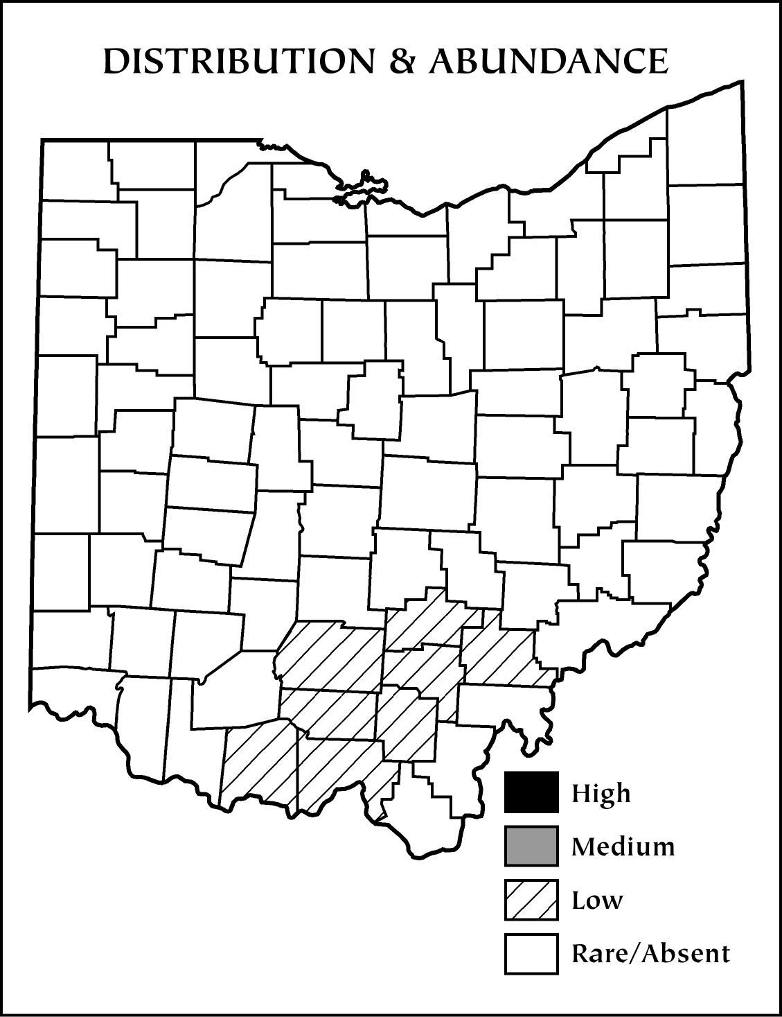 the current range of the timber rattlesnake in ohio map courtesy of the ohio division of wildlife