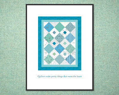 framed blue and green digital quilt poster