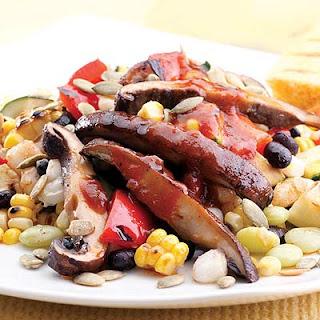 Black Bean and Hominy Succotash With Barbecued Portobello Mushrooms Recipe