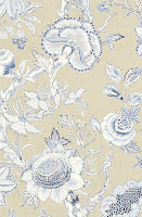 Flower Wallpaper Richmond Collection Tan Blue T4146
