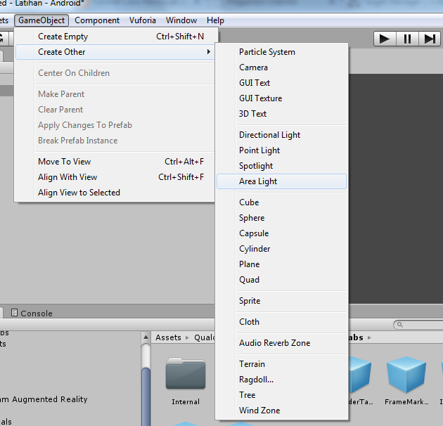 GameObject>Create Other> Pilih Cube(atau Obyek 3D lain)
