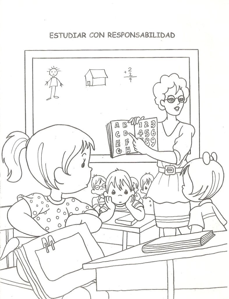 la clase de la maestra colorear ninos estudiando en salon de