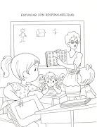 niños en el aula del colegio. Niños atendiendo la clase de la maestra colorear ninos estudiando