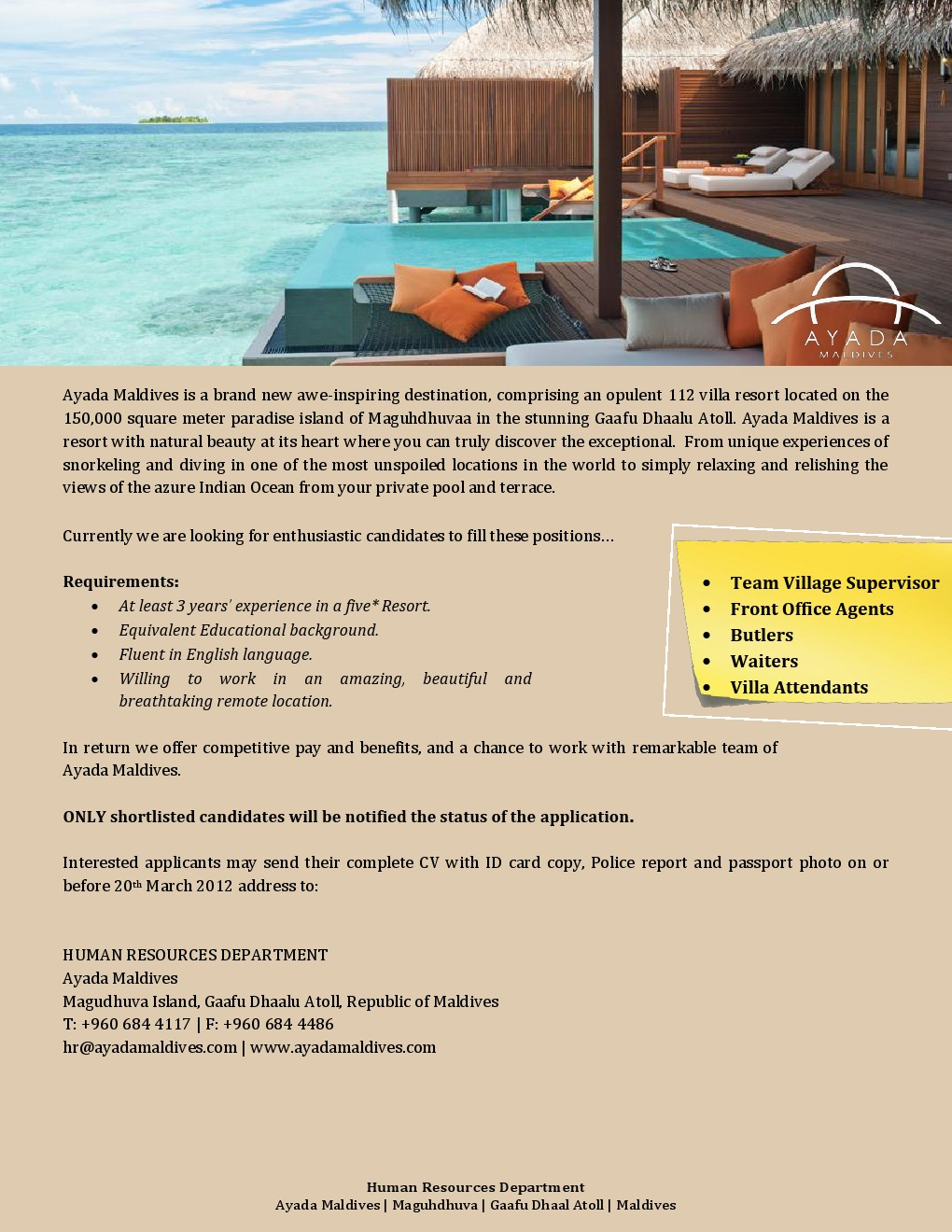 job maldives  room attendant jobs in maldives