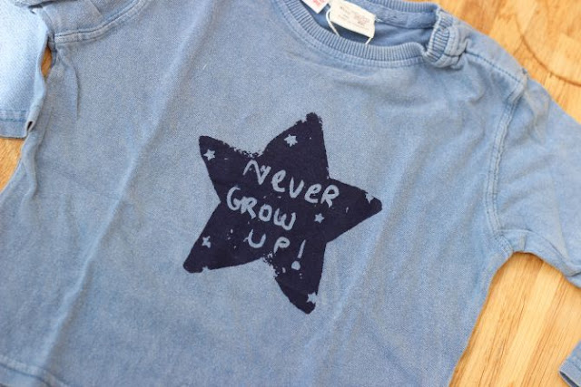 Never grow up blue star top for baby boys from Zara