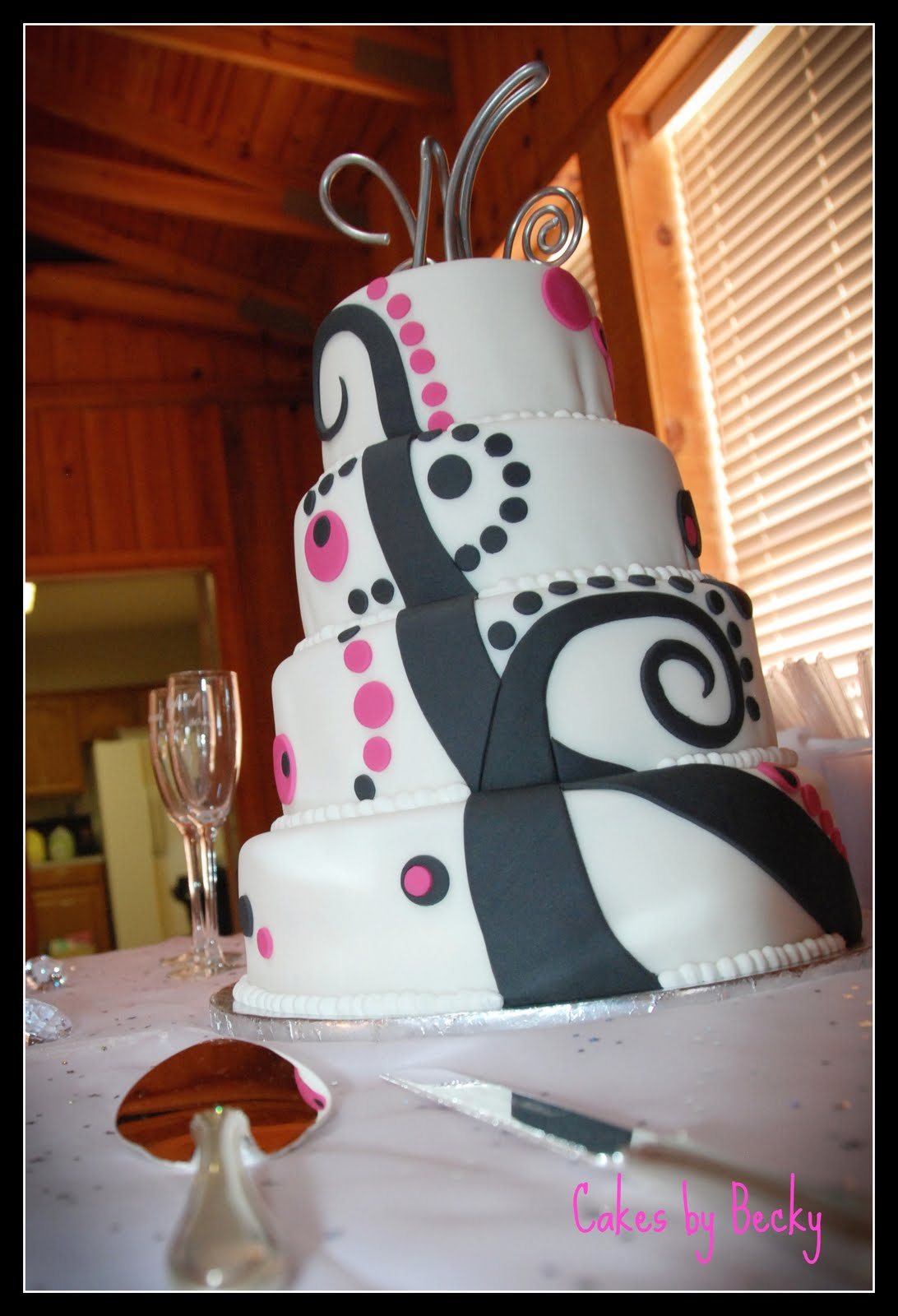 Cakes by Becky: Funky Pink and Black Wedding Cake