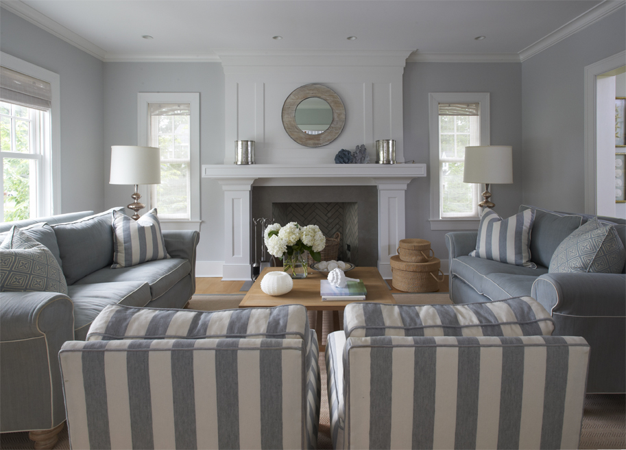 COCOCOZY: GRAY & STRIPES IN A SEASIDE COTTAGE!