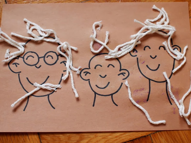 yarn hair family portrait craft