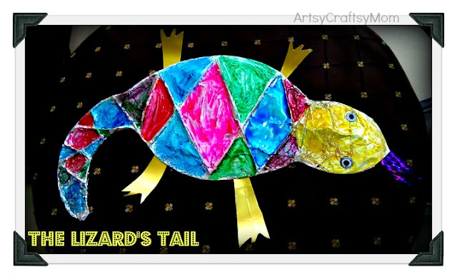 Lizard tail book craft with foil and ceramic paints