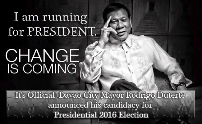 It's Official! Davao City Mayor Rodrigo Duterte announced his candidacy for Presidential 2016 Election