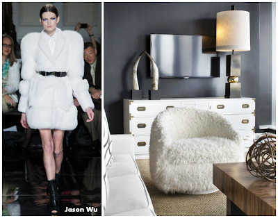 jason wu winter design brought into white and black room and beautiful on the furry white sofa