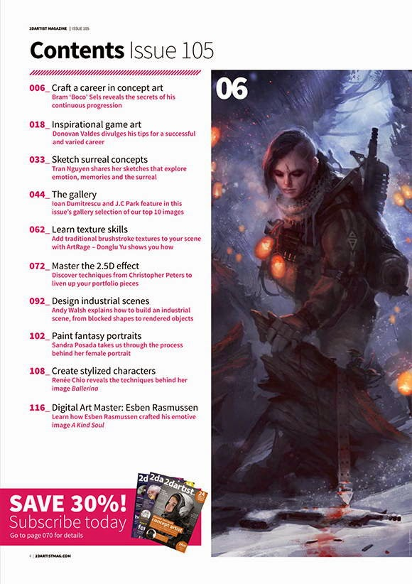 2D Artist Magazine Issue 105 September 2014 content