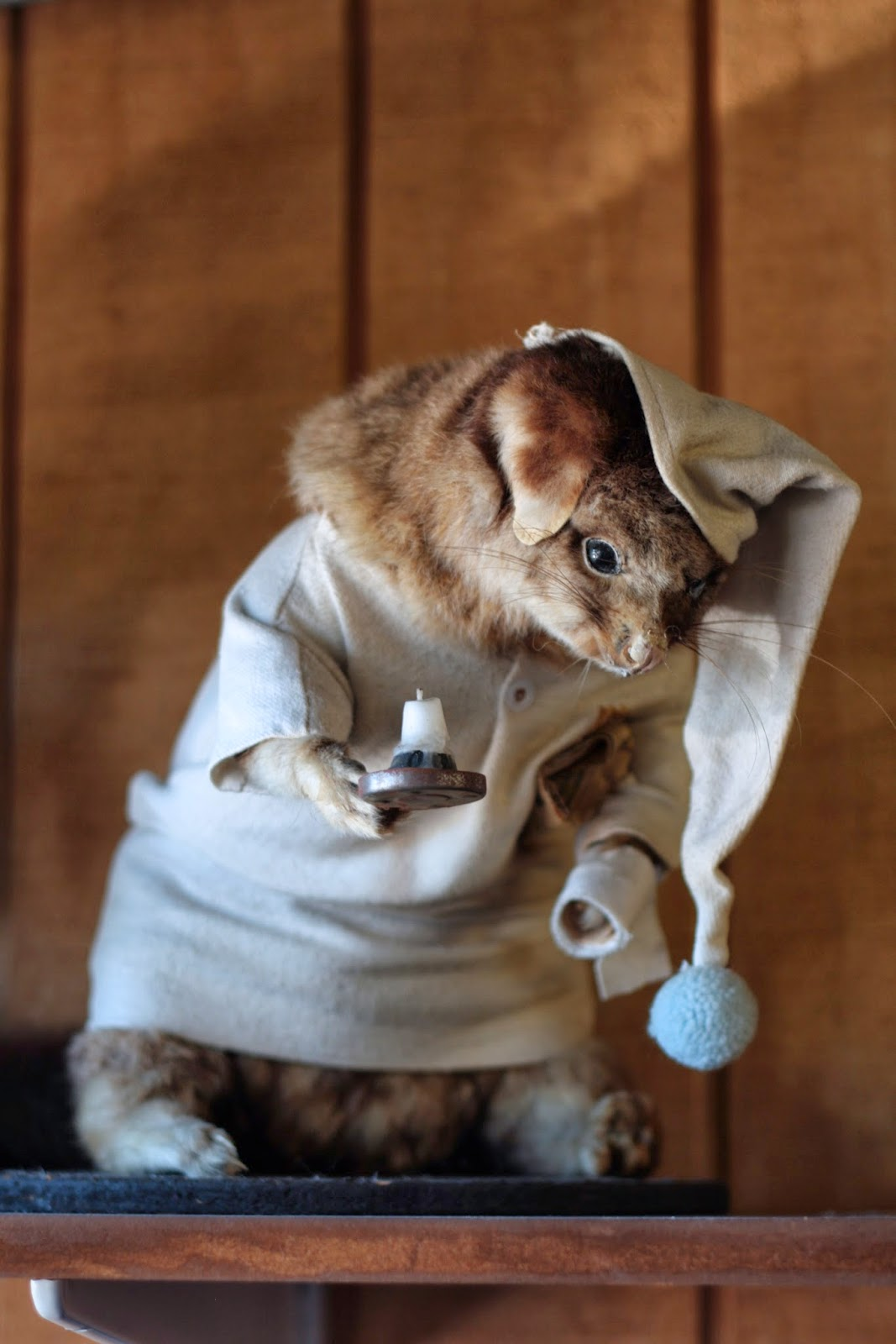 A taxidermied opossum wears a nightgown and cap, and carries a candlestick.