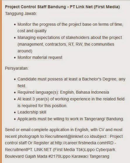 lowongan kerja pt link net bandung 2014