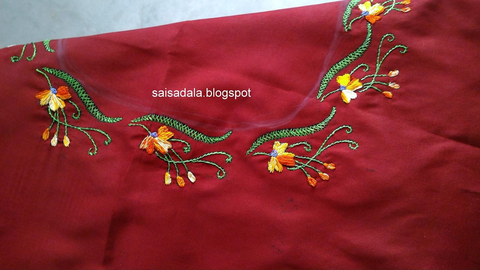 Sadala s embroidery long short stitch saree blouse