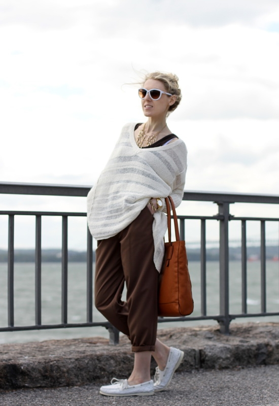 Free People Spending Time Pullover Asos Pants Sperry Top-Sider Quilted Shoes Jessica Simpson White Sunglasses Ralph Lauren Bag Forever 21 Spike Necklace