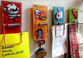 Porta Objetos Reciclados, Trampas para Ratones convertidos en Decorativos Percheros
